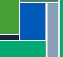 Bold, Abstract Geometric Design in Green and Blue by ArtformDesigns