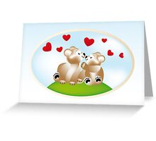 Smiling teddies in love Greeting Card
