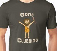 Gone Clubbing Funny Caveman Cartoon Design Unisex T-Shirt