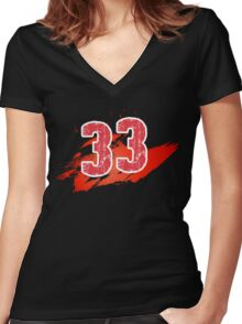 Number 33 Women's Fitted V-Neck T-Shirt