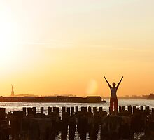 Yoga in the sunset, by the Statue of liberty, New York  by Wari Om  Yoga Photography