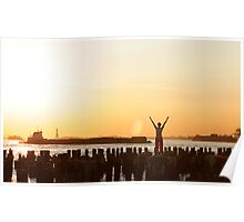 Yoga in the sunset, by the Statue of liberty, New York  Poster