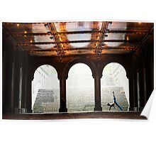 Yoga at Bethesda Terrace, Central Park, New York Poster