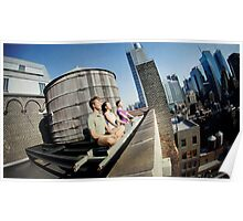Yoga meditation in a rooftop, New York Poster