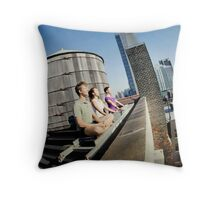 Yoga meditation in a rooftop, New York Throw Pillow