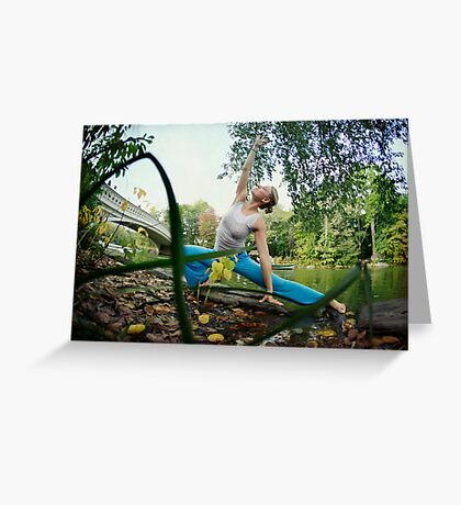 Yoga by the Bow Bridge, Central Park, New York Greeting Card