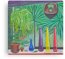 Still Life with three Bottles and Hawaiin Birds Canvas Print
