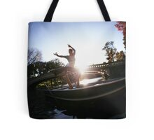 Acroyoga in the lake, Central Park, New York Tote Bag