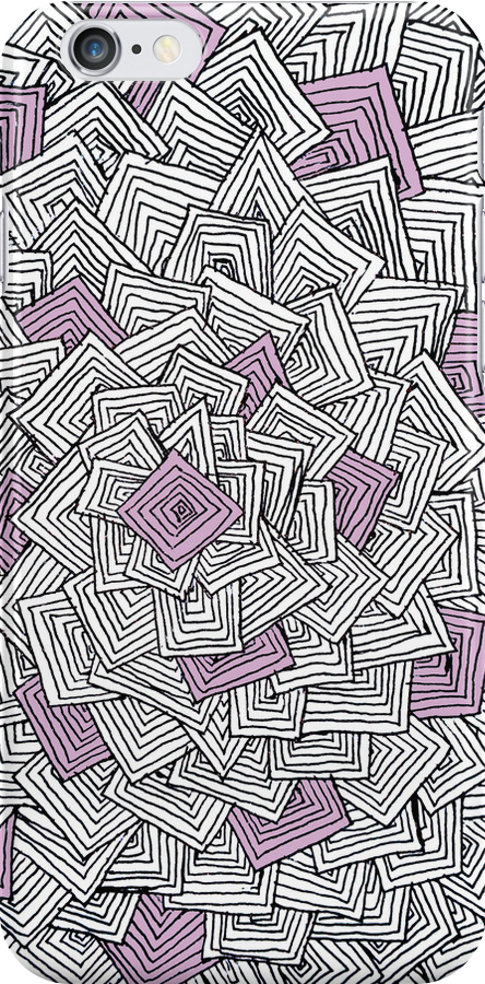Zentangle Squares Pink iPhone Case by Hilda Rytteke