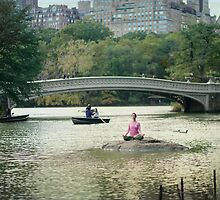Yoga meditation at  the lake, Central Park, New York by Wari Om  Yoga Photography