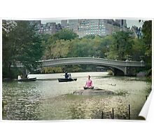 Yoga meditation at  the lake, Central Park, New York Poster