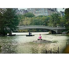 Yoga meditation at  the lake, Central Park, New York Photographic Print