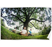 Meditation under the tree Central Park, New York Poster