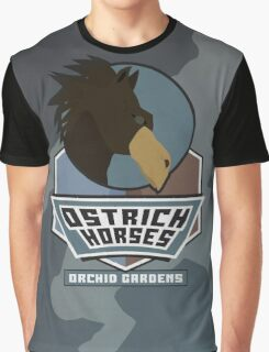 Orchid Gardens Ostrich Horses Graphic T-Shirt