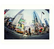 Yoga, handstand at Times Square, New York Art Print