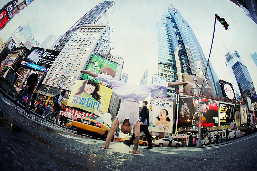 Yoga, handstand at Times Square, New York by Wari Om  Yoga Photography