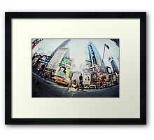 Yoga, handstand at Times Square, New York Framed Print