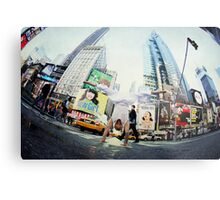 Yoga, handstand at Times Square, New York Metal Print