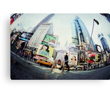 Yoga, handstand at Times Square, New York Canvas Print