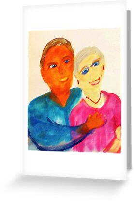 A couple in love, watercolor by Anna  Lewis, blind artist