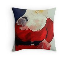 Santa Claus is ready, have you been bad or good? watercolor Throw Pillow