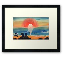 Couple watching sunset/sunrise, watercolor Framed Print