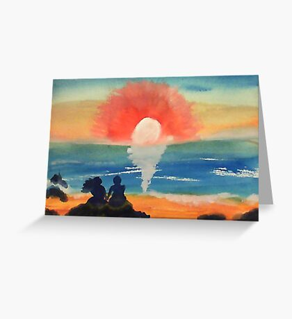 Couple watching sunset/sunrise, watercolor Greeting Card