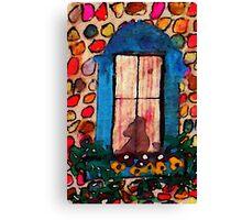 Kitty waiting at window, watercolor Canvas Print