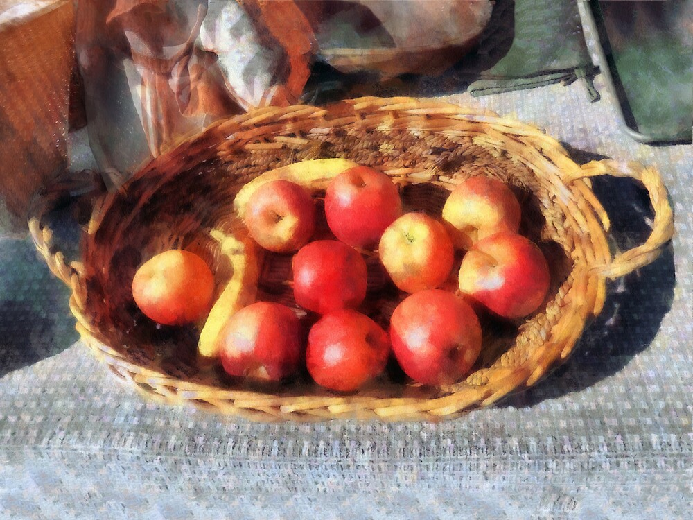 Apples and Bananas in Basket by Susan Savad