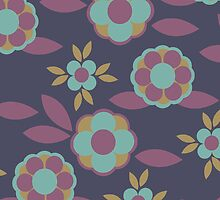 Dark Navy Blue Background Colorful Retro Flower Pattern by rozine