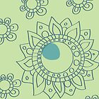 Chartreuse Green and Turquoise Henna Flower Tattoo Design by rozine