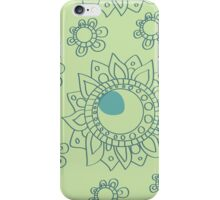 Chartreuse Green and Turquoise Henna Flower Tattoo Design iPhone Case/Skin