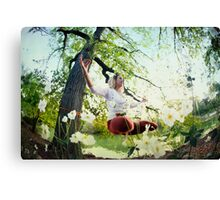 Yoga in Slackline at Central Park, New York Canvas Print