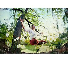 Yoga in Slackline at Central Park, New York Photographic Print