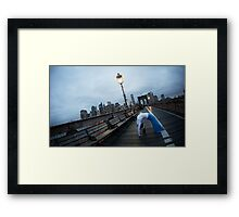 Full wheel, Yoga at Brooklyn Bridge, New York Framed Print