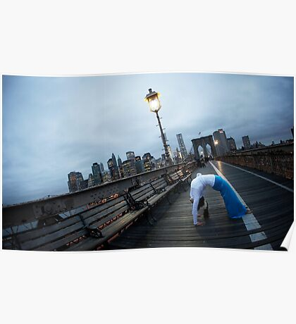 Full wheel, Yoga at Brooklyn Bridge, New York Poster