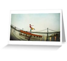 Acroyoga, flying next to Manhattan Bridge, New York Greeting Card