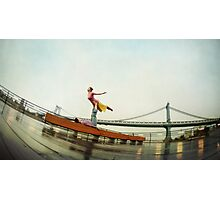Acroyoga, flying next to Manhattan Bridge, New York Photographic Print