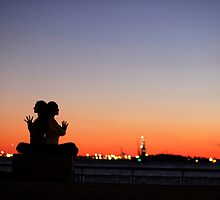 Sunset Yoga Meditation at New York City by Wari Om  Yoga Photography