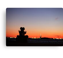 Sunset Yoga Meditation at New York City Canvas Print
