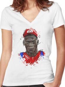 Super Mario Balotelli Women's Fitted V-Neck T-Shirt