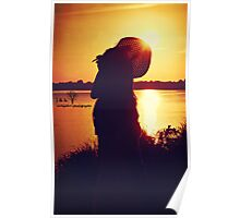 Silhouette By the Pond Poster