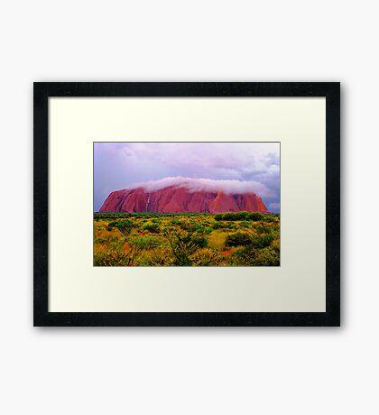 Mighty Uluru Under Storm Cloud Framed Print