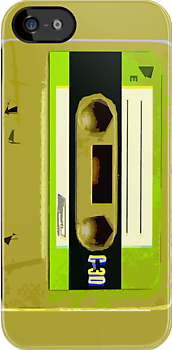 Lime Green Retro Audio Cassette by HighDesign
