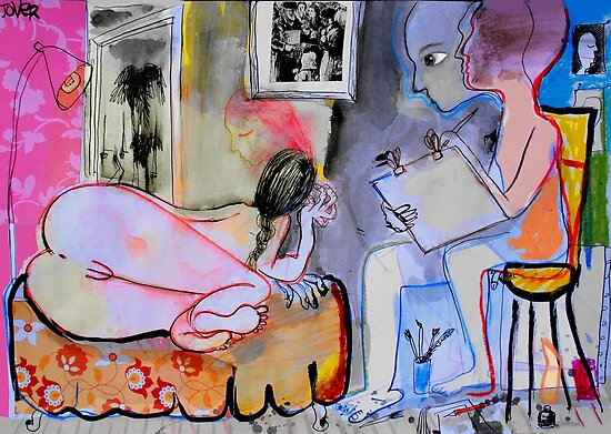 drawing nude in summer by Loui  Jover