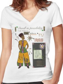 Dwell in Possibility T-Shirt Women's Fitted V-Neck T-Shirt
