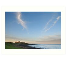 Towards Dunstanburgh castle at dusk Art Print