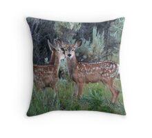 Twin Fawns Throw Pillow