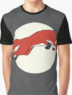 Night Fox Flies over the Moon Graphic T-Shirt