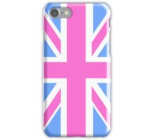 Pink, White and Blue Union Jack Flag of the UK iPhone Case/Skin